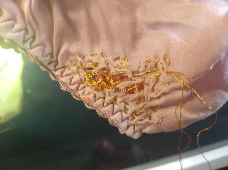 Silk briefs with golden darning